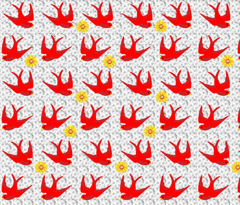 Sunflower Swallows fabric by wepop on Spoonflower - custom fabric