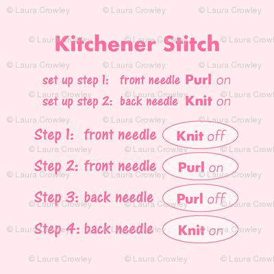 Kitchener stitch grafting cheat sheet-pink on pink