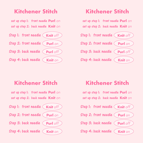 Kitchener stitch grafting cheat sheet-pink on pink fabric by knitifacts on Spoonflower - custom fabric