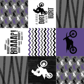 Motocross//A little Dirt Never Hurt - Purple - Wholecloth Cheater Quilt - Rotated