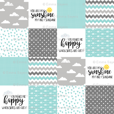 You are my sunshine - Aqua - Wholecloth Cheater Quilt