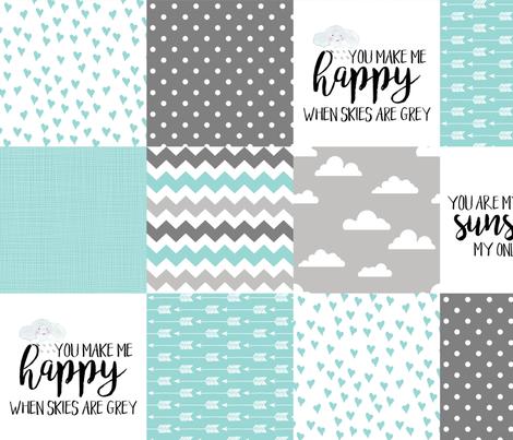 You are my sunshine - Aqua - Wholecloth Cheater Quilt fabric by longdogcustomdesigns on Spoonflower - custom fabric