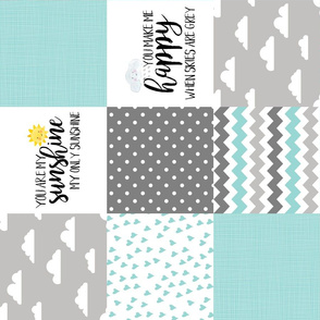 You are my sunshine Aqua - Wholecloth Cheater Quilt - Rotated