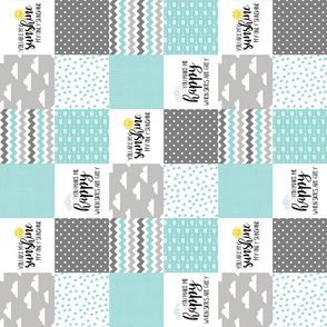 3 Inch You are my sunshine aqua - Wholecloth Cheater Quilt - Rotated