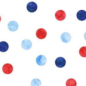 "1"" polka dot scatter - red white and blue"
