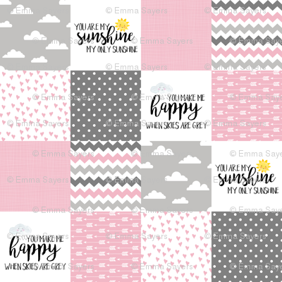 You are my sunshine Pink - Wholecloth Cheater Quilt