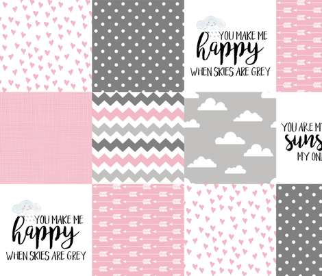 You are my sunshine Pink - Wholecloth Cheater Quilt fabric by longdogcustomdesigns on Spoonflower - custom fabric