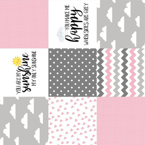You are my sunshine pink - Wholecloth Cheater Quilt - Rotated
