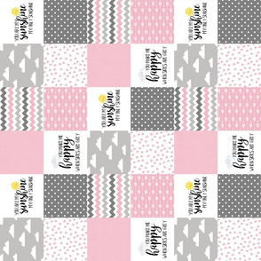 3 inch you are my sunshine pink - wholecloth cheater quilt - rotated
