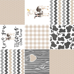 Farm//Love you till the cows come home beige - wholecloth cheater quilt - rotated