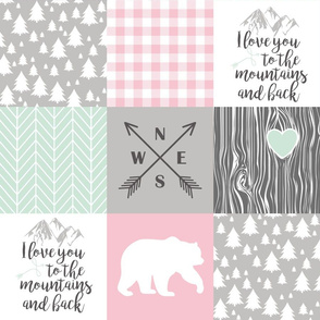 Love you to the mountains & back - Pink/Mint - Wholecloth Cheater Quilt
