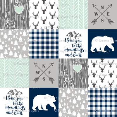 Love you to the mountains & back - Navy/Mint - Wholecloth Cheater Quilt