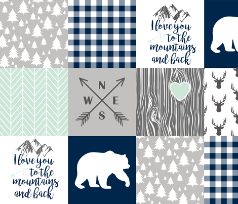 Love you to the mountains & back - Navy/Mint - Wholecloth Cheater Quilt  fabric by longdogcustomdesigns on Spoonflower - custom fabric