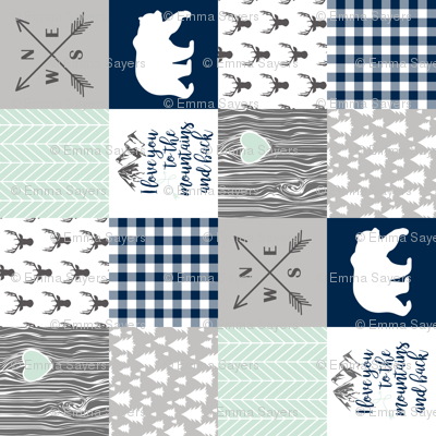 Love you to the mountains & back Navy/Mint - Wholecloth cheater quilt - rotated