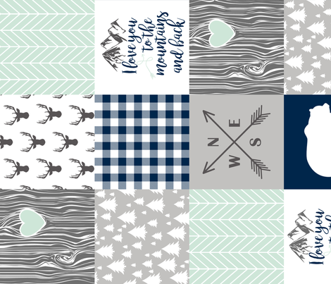 Love you to the mountains & back Navy/Mint - Wholecloth cheater quilt - rotated fabric by longdogcustomdesigns on Spoonflower - custom fabric