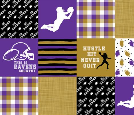 Football//Hustle Hit Never Quit Ravens - Wholecloth Cheater Quilt fabric by longdogcustomdesigns on Spoonflower - custom fabric