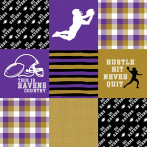 Football//Hustle Hit Never Quit Ravens - Wholecloth Cheater Quilt