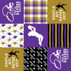 Football//Hustle Hit Never Quit Ravens - Wholecloth Cheater Quilt - Rotated