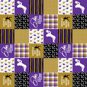 3 inch Football//Hustle Hit Never Quit Ravens - Wholecloth Cheater Quilt - Rotated