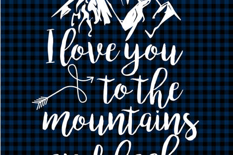 Love you to the mountains and Back //Navy Buffalo Plaid - 2 Yard Layout fabric by longdogcustomdesigns on Spoonflower - custom fabric