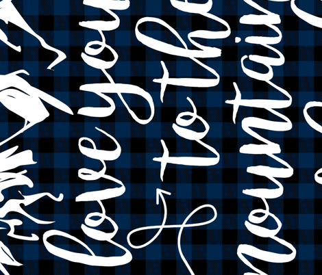 Love you to the mountains and back/Navy Plaid - 1 Yard Rotated fabric by longdogcustomdesigns on Spoonflower - custom fabric
