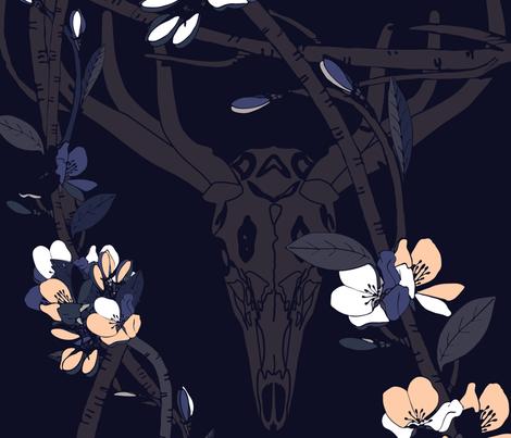 blooming twig and skul 18-01-18 fabric by el_tee on Spoonflower - custom fabric