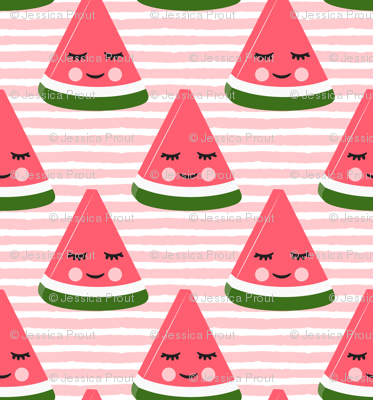 happy watermelon - pink on pink stripes