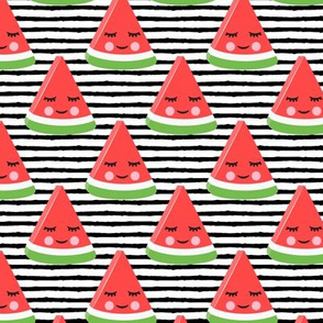 happy watermelon - red on black stripes