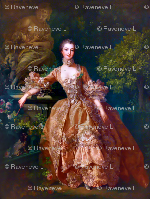 Madame de Pompadour baroque rococo victorian orange ballgowns pink roses Marie Antoinette floral flowers garden french france beautiful woman gowns portraits lady mistress of king Louis XV beauty dogs cocker spaniel romantic elegant gothic lolita egl 18th