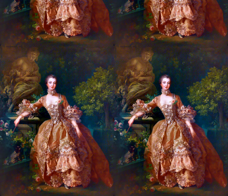 Madame de Pompadour baroque rococo victorian orange ballgowns pink roses Marie Antoinette floral flowers garden french france beautiful woman gowns portraits lady mistress of king Louis XV beauty dogs cocker spaniel romantic elegant gothic lolita egl 18th fabric by raveneve on Spoonflower - custom fabric