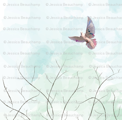 Bohemian Dove in the Watercolor Sky