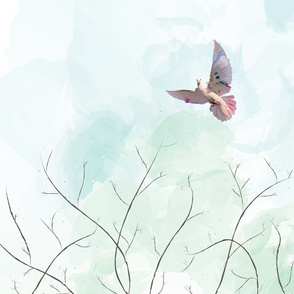 Bohemian Dove in the Watercolor Sky