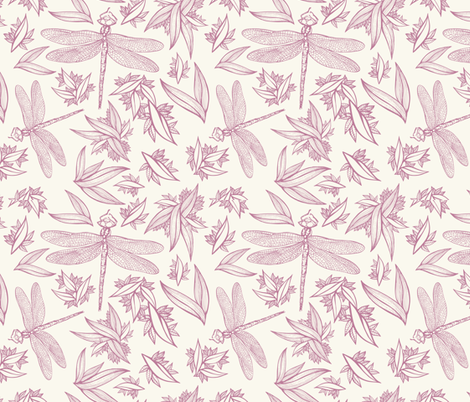 Dragonfly Red on Cream fabric by nikkimay on Spoonflower - custom fabric