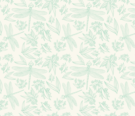 Dragonfly Green on Cream fabric by nikkimay on Spoonflower - custom fabric
