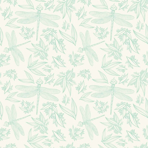 Dragonfly Green on Cream