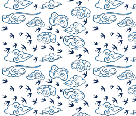 Birds free in the air fabric by helen_bne on Spoonflower - custom fabric
