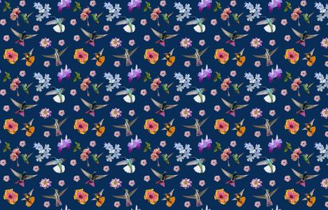 Hummers and flowers midnight blue fabric by landofthehummingbird on Spoonflower - custom fabric