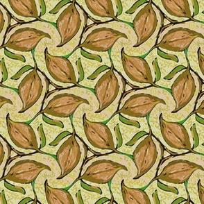 Three Brown Leaves Twirling