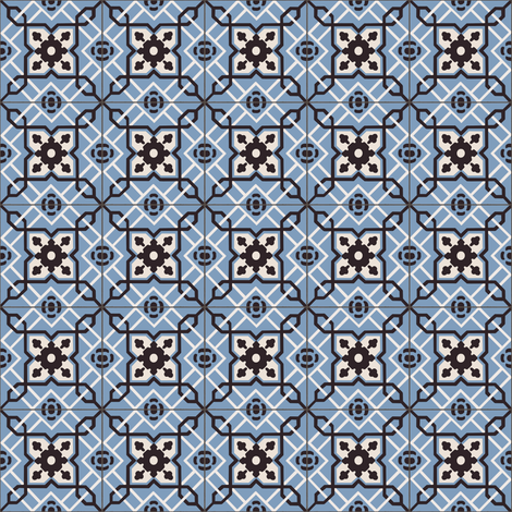 Small Blue Tiles fabric by arts_and_herbs on Spoonflower - custom fabric