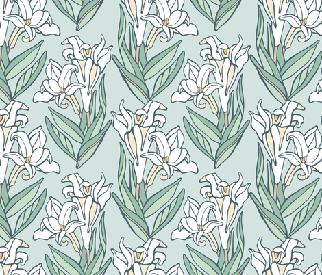Easter Lily fabric by rootandbranchpaper on Spoonflower - custom fabric