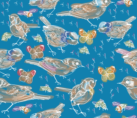 watercolour summer skies fabric by craftwithcartwright on Spoonflower - custom fabric
