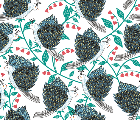 birds and florals fabric by y_me_it's_me on Spoonflower - custom fabric
