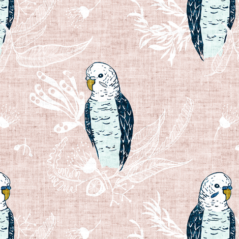 Terra Australis Budgies (MED) fabric by nouveau_bohemian on Spoonflower - custom fabric