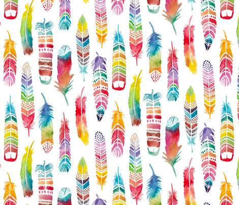 Rainbow Feathers by Gabrielle Cave fabric by gcave on Spoonflower - custom fabric