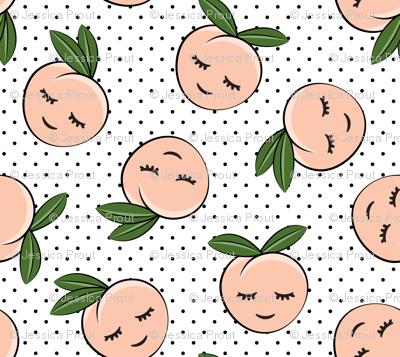 peaches -  black polka dots