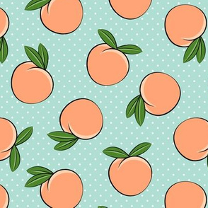 peaches - polka dots on aqua