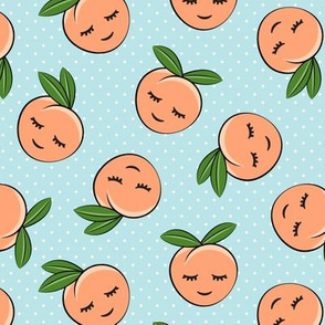 happy peaches - polka dots on blue