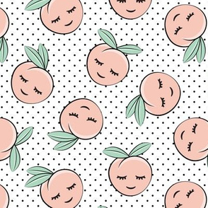 happy peaches - black polka dots
