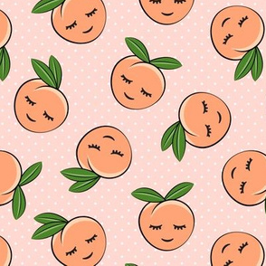 happy peaches - polka dots on pink