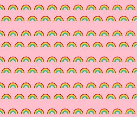 rainbow fabric cute nursery kids decor med pink fabric by charlottewinter on Spoonflower - custom fabric